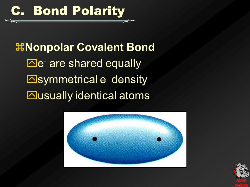  Nonpolar Covalent Bond  e - are shared equally  symmetrical e - density  usually identical atoms C.