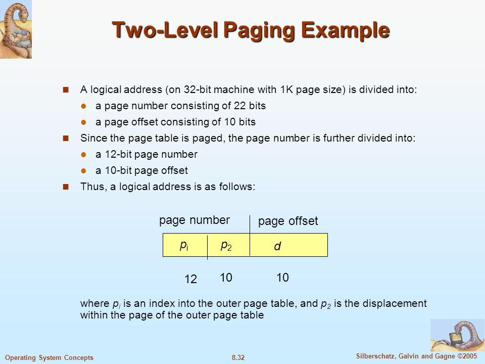 8.32 Silberschatz, Galvin and Gagne ©2005 Operating System Concepts Two-Level Paging Example A logical address (on 32-bit machine with 1K page size) is divided into: a page number consisting of 22 bits a page offset consisting of 10 bits Since the page table is paged, the page number is further divided into: a 12-bit page number a 10-bit page offset Thus, a logical address is as follows: where p i is an index into the outer page table, and p 2 is the displacement within the page of the outer page table page number page offset pipi p2p2 d 12 10