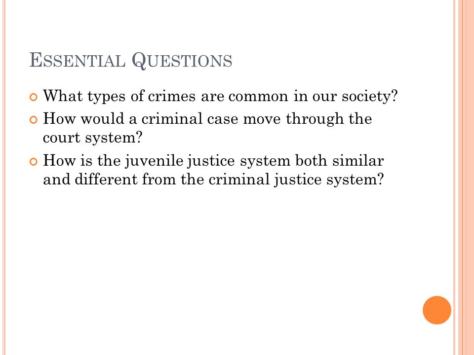 E SSENTIAL Q UESTIONS What types of crimes are common in our society.