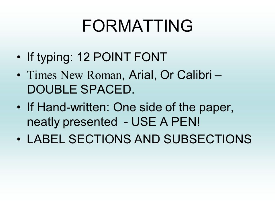 SYNOPSIS?  FORMATTING If typing: 12 POINT FONT Times New
