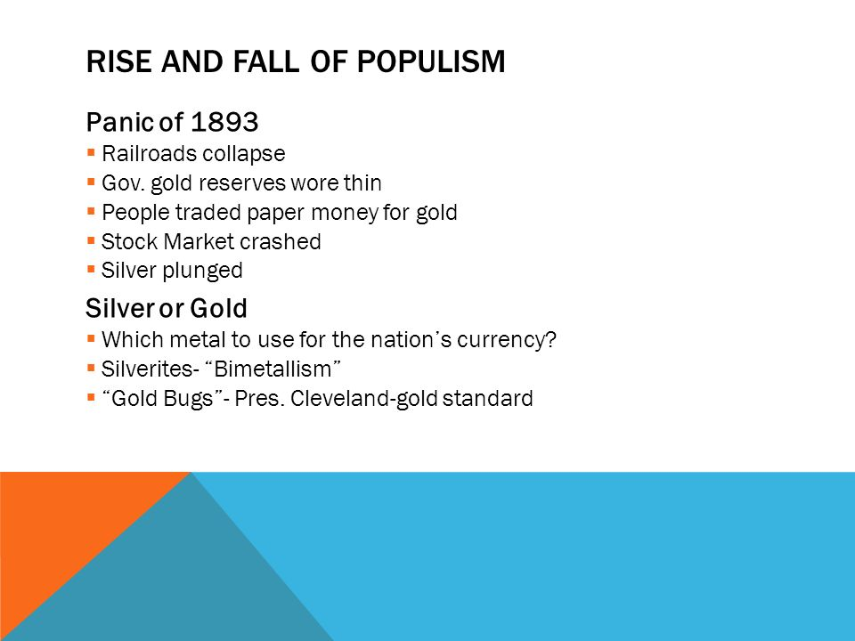 RISE AND FALL OF POPULISM Panic of 1893  Railroads collapse  Gov.