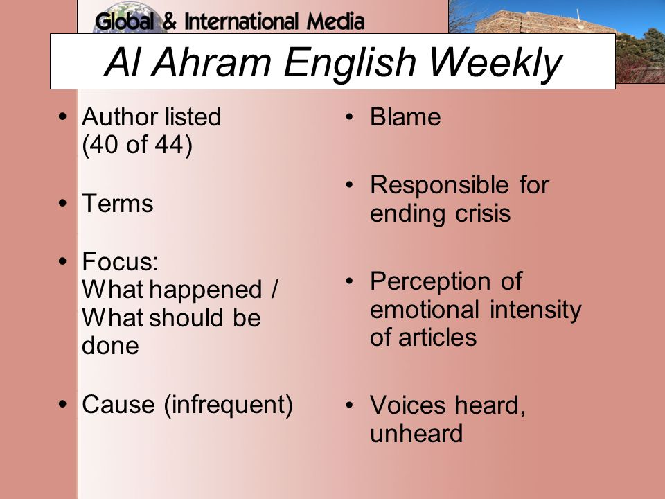 Al Ahram English Weekly  Author listed (40 of 44)  Terms  Focus: What happened / What should be done  Cause (infrequent) Blame Responsible for ending crisis Perception of emotional intensity of articles Voices heard, unheard