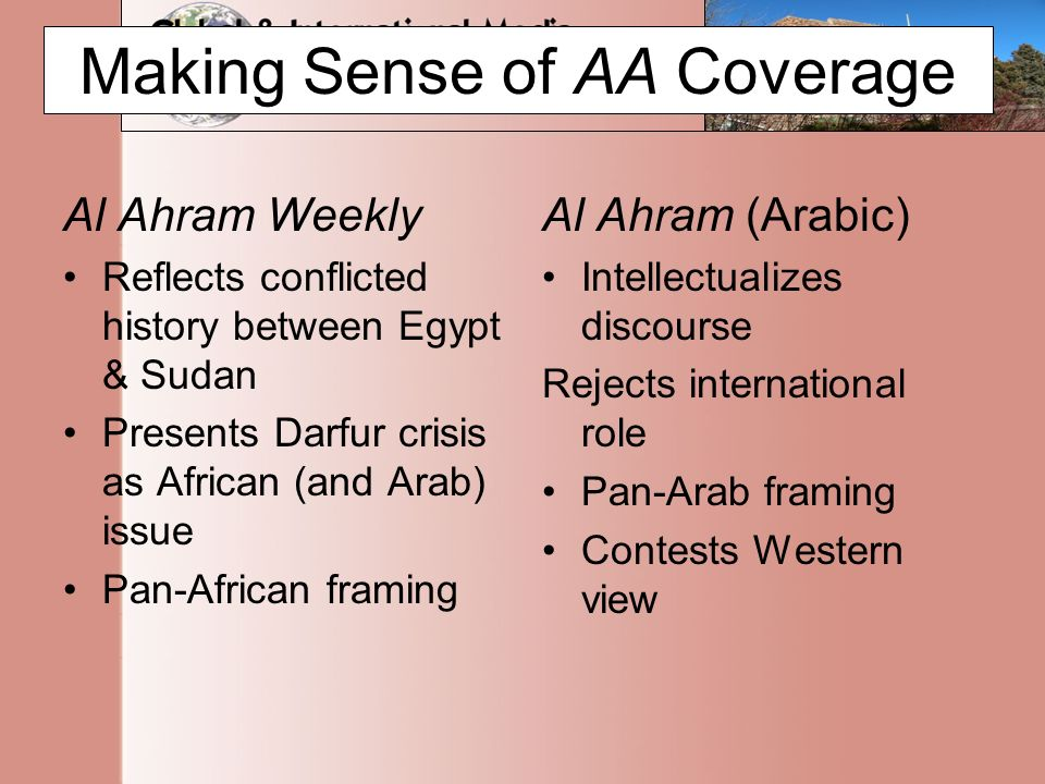 Making Sense of AA Coverage Al Ahram Weekly Reflects conflicted history between Egypt & Sudan Presents Darfur crisis as African (and Arab) issue Pan-African framing Al Ahram (Arabic) Intellectualizes discourse Rejects international role Pan-Arab framing Contests Western view