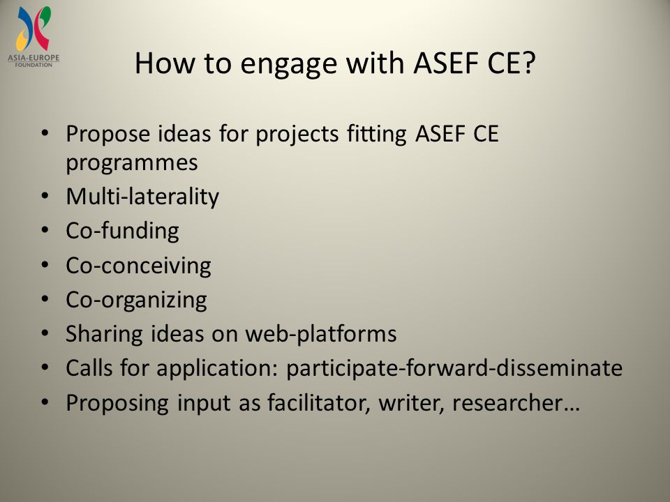 How to engage with ASEF CE.