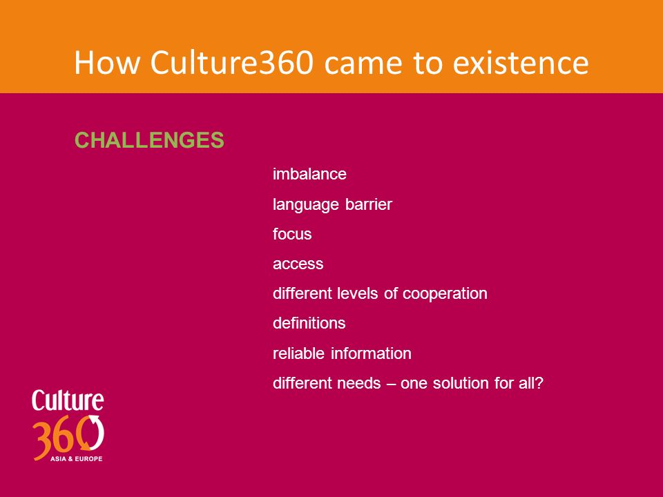 How Culture360 came to existence CHALLENGES imbalance language barrier focus access different levels of cooperation definitions reliable information different needs – one solution for all