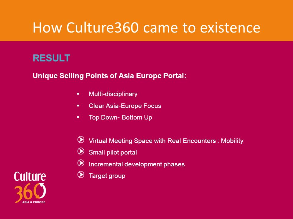 How Culture360 came to existence RESULT Unique Selling Points of Asia Europe Portal:  Multi-disciplinary  Clear Asia-Europe Focus  Top Down- Bottom Up Virtual Meeting Space with Real Encounters : Mobility Small pilot portal Incremental development phases Target group