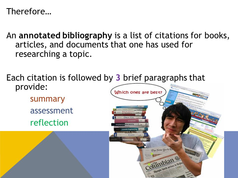 Therefore… An annotated bibliography is a list of citations for books, articles, and documents that one has used for researching a topic.