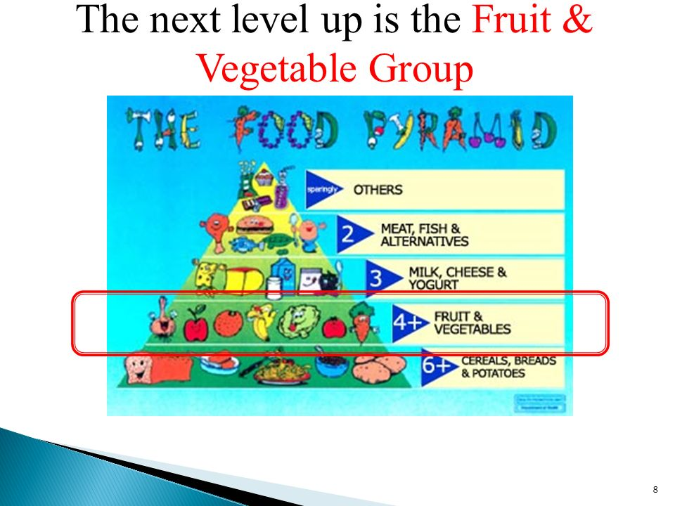 The next level up is the Fruit & Vegetable Group 8