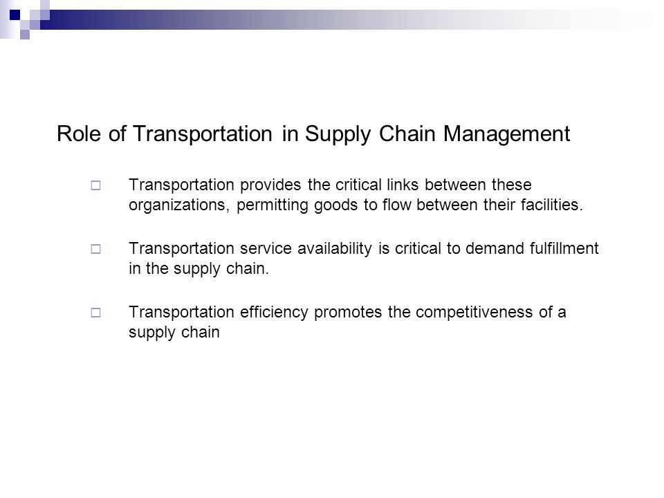 Transportation—Managing the Flow of the Supply Chain Lecture ppt