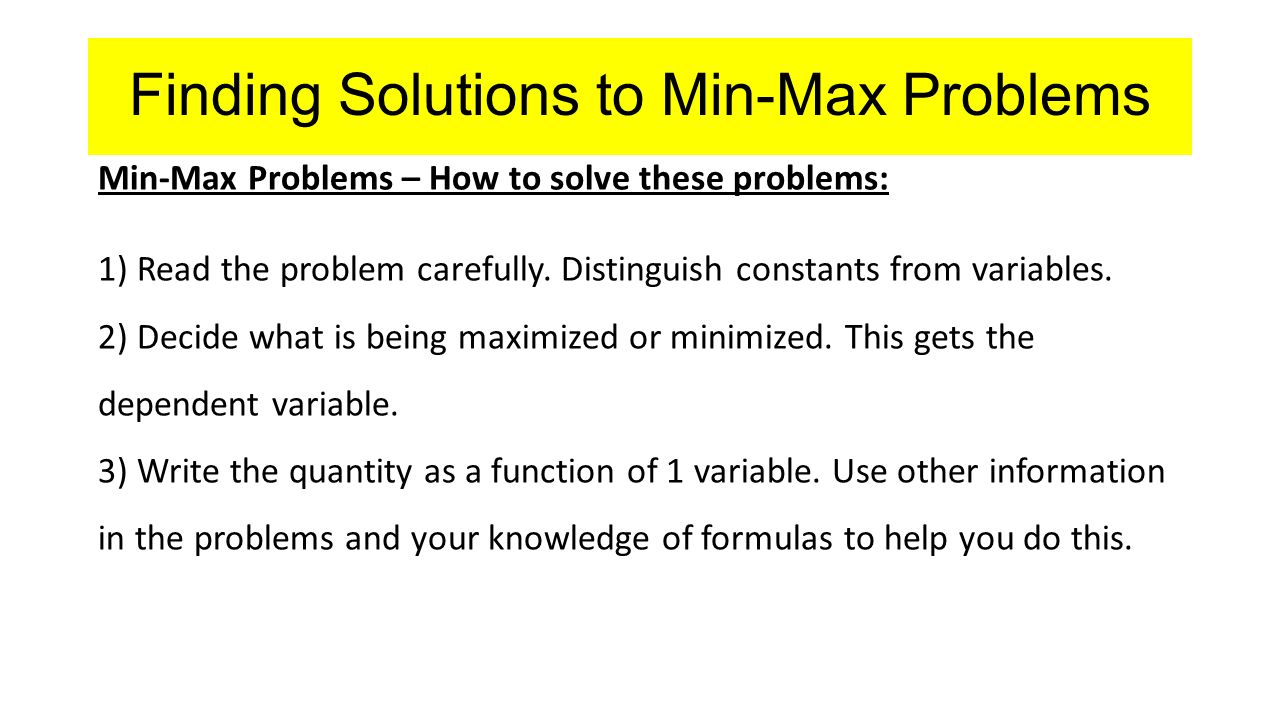 solve the optimization problem