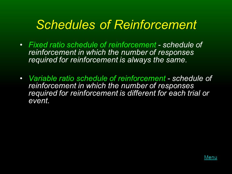 Schedules of Reinforcement Fixed ratio schedule of reinforcement - schedule of reinforcement in which the number of responses required for reinforcement is always the same.