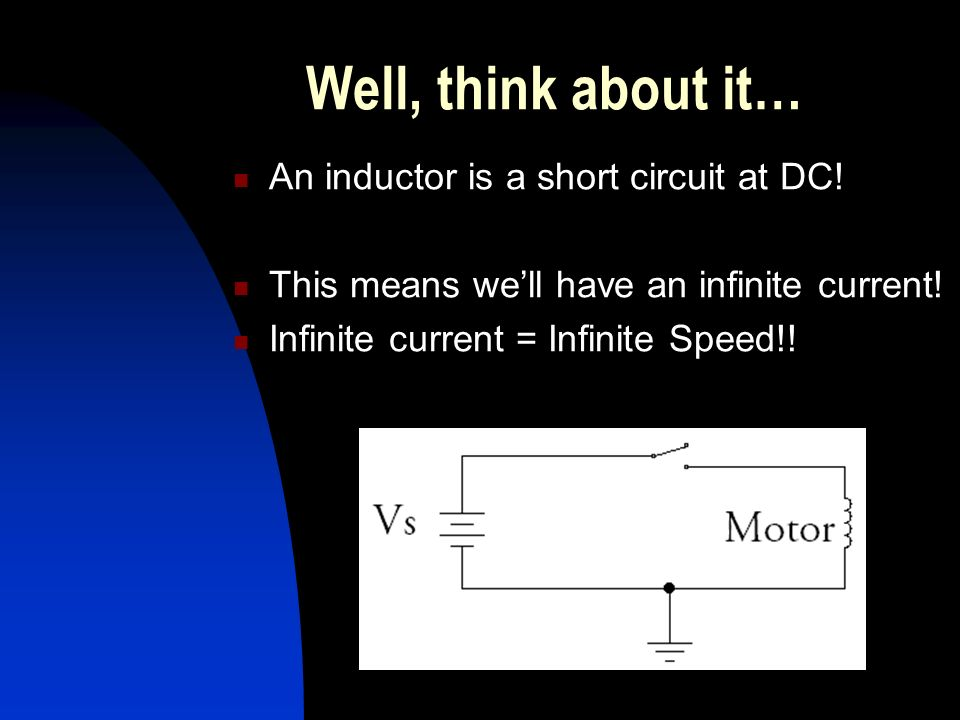 Well, think about it… An inductor is a short circuit at DC.