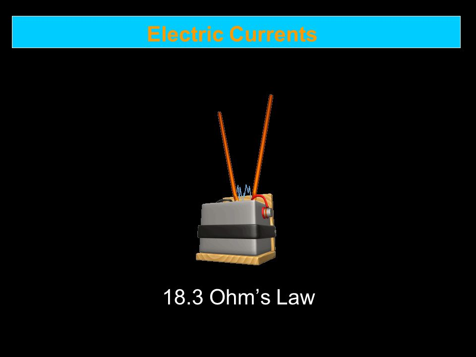 Electric Currents 18.3 Ohm's Law