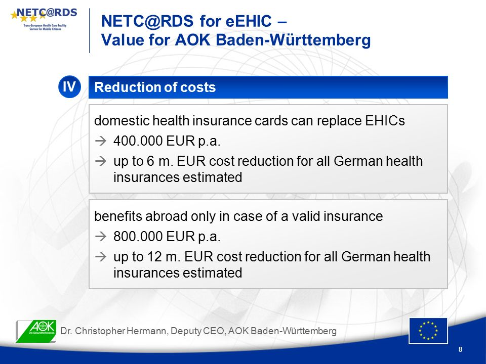 8 for eEHIC – Value for AOK Baden-Württemberg Reduction of costs IV domestic health insurance cards can replace EHICs  EUR p.a.