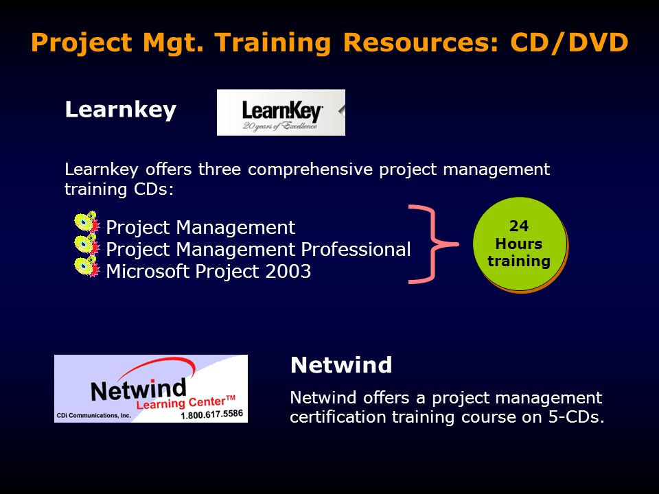 Project Management Training Resources On Cd Dvd All Graphics In