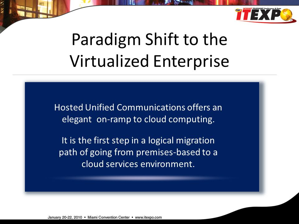 Paradigm Shift to the Virtualized Enterprise Hosted Unified Communications offers an elegant on-ramp to cloud computing.
