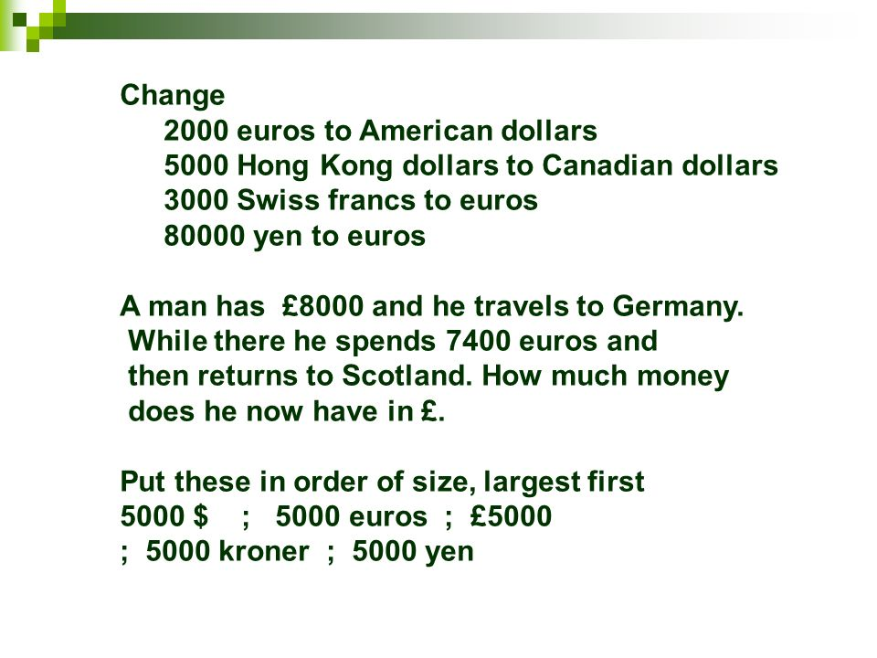 Foreign Currency Arithmetic U S A Dollars 1 80 Canada