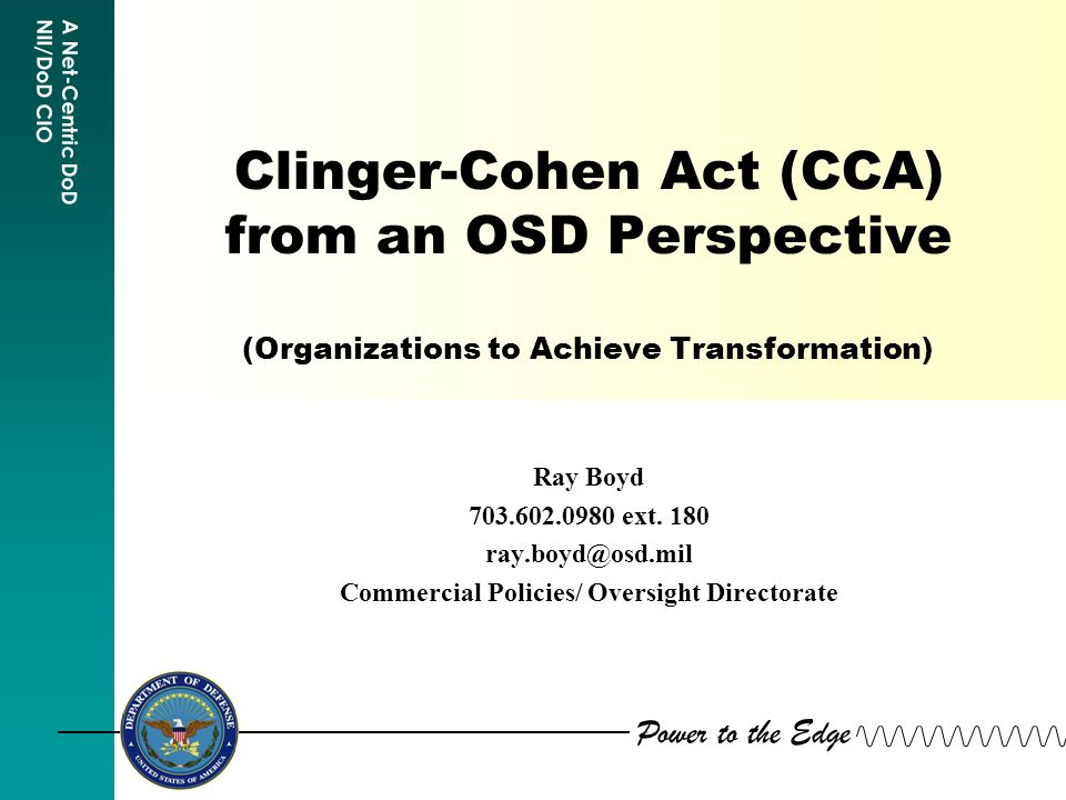 the clinger-cohen act requires that each executive agency designates a chief information officer