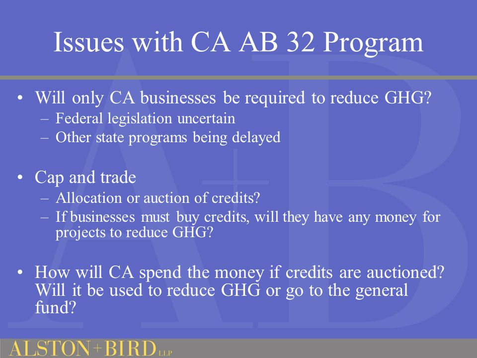 Issues with CA AB 32 Program Will only CA businesses be required to reduce GHG.