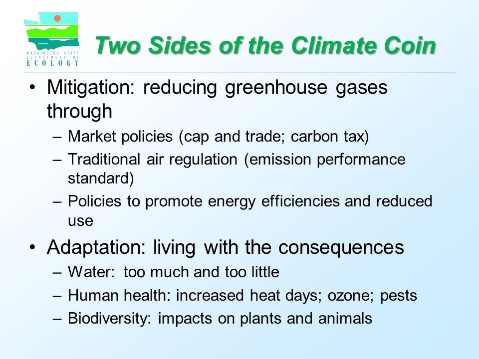 Two Sides of the Climate Coin Mitigation: reducing greenhouse gases through –Market policies (cap and trade; carbon tax) –Traditional air regulation (emission performance standard) –Policies to promote energy efficiencies and reduced use Adaptation: living with the consequences –Water: too much and too little –Human health: increased heat days; ozone; pests –Biodiversity: impacts on plants and animals