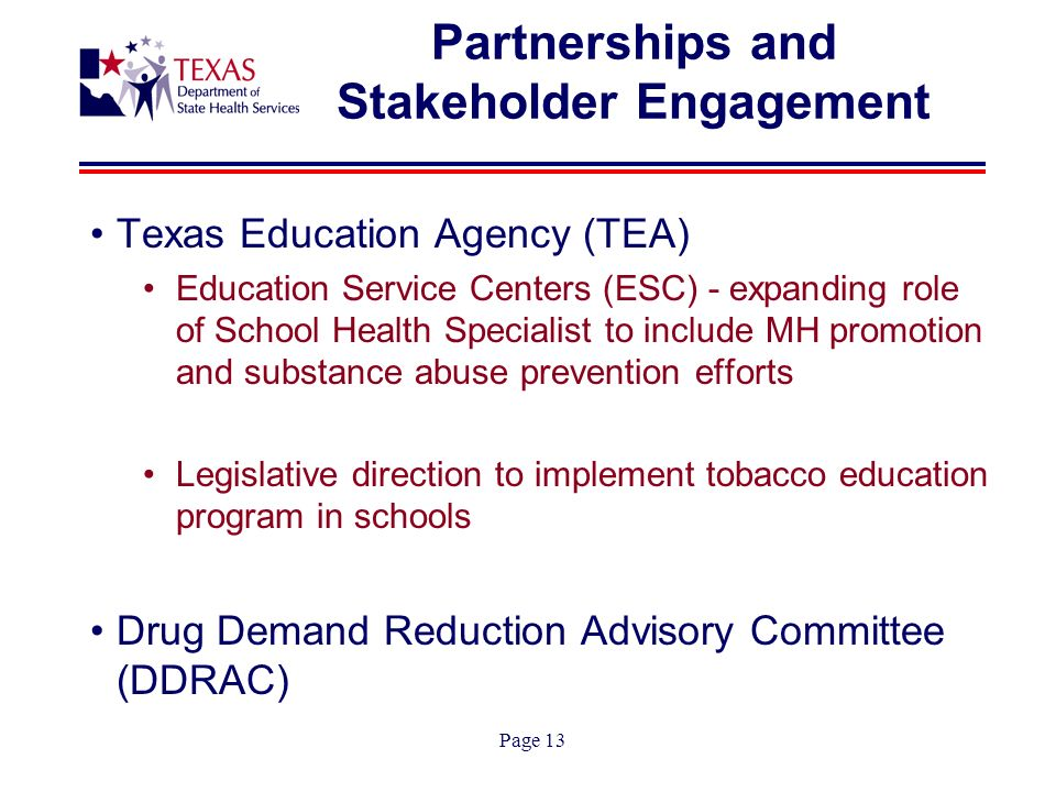 Page 13 Partnerships and Stakeholder Engagement Texas Education Agency (TEA) Education Service Centers (ESC) - expanding role of School Health Specialist to include MH promotion and substance abuse prevention efforts Legislative direction to implement tobacco education program in schools Drug Demand Reduction Advisory Committee (DDRAC)