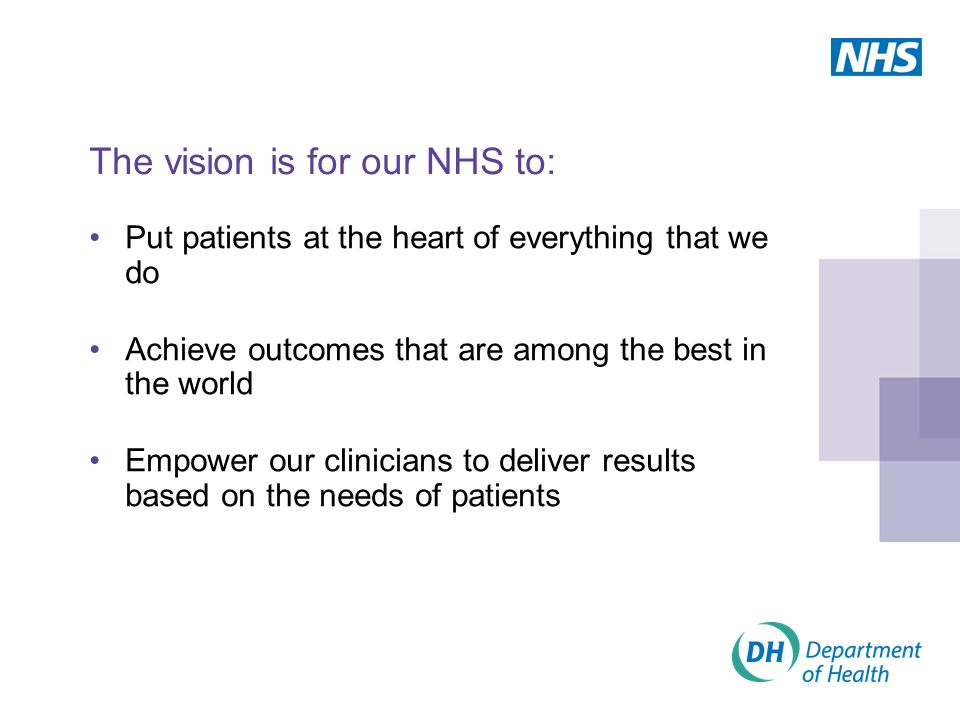 The vision is for our NHS to: Put patients at the heart of everything that we do Achieve outcomes that are among the best in the world Empower our clinicians to deliver results based on the needs of patients