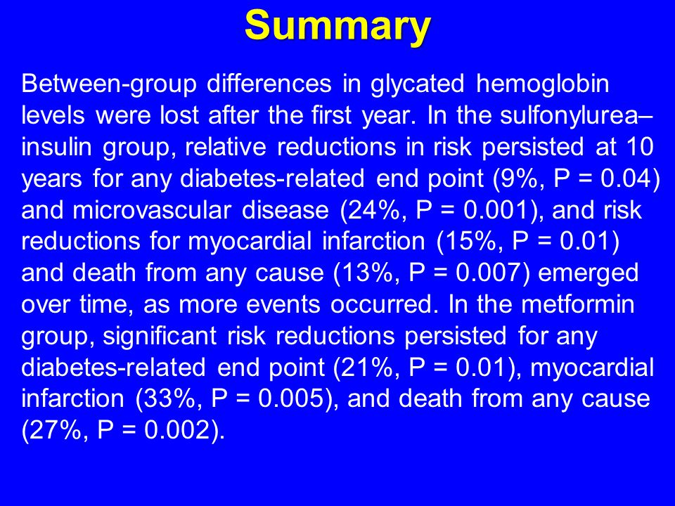 Summary Between-group differences in glycated hemoglobin levels were lost after the first year.