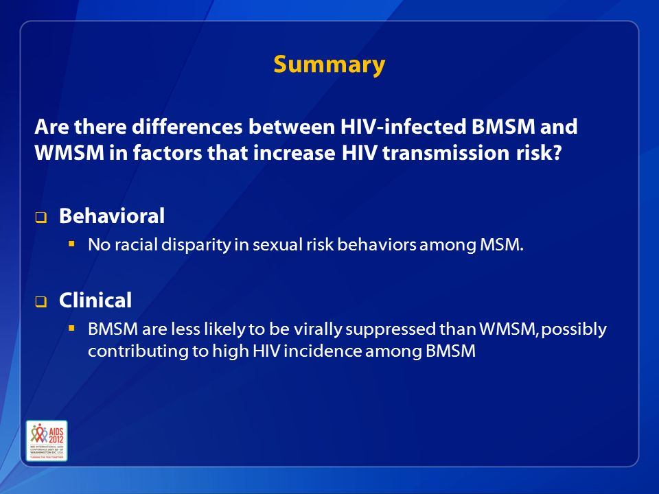 Summary Are there differences between HIV-infected BMSM and WMSM in factors that increase HIV transmission risk.