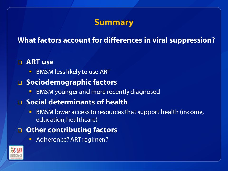 Summary What factors account for differences in viral suppression.