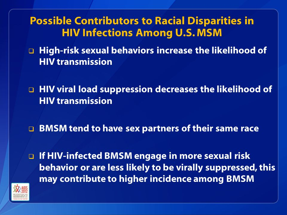  High-risk sexual behaviors increase the likelihood of HIV transmission  HIV viral load suppression decreases the likelihood of HIV transmission  BMSM tend to have sex partners of their same race  If HIV-infected BMSM engage in more sexual risk behavior or are less likely to be virally suppressed, this may contribute to higher incidence among BMSM Possible Contributors to Racial Disparities in HIV Infections Among U.S.