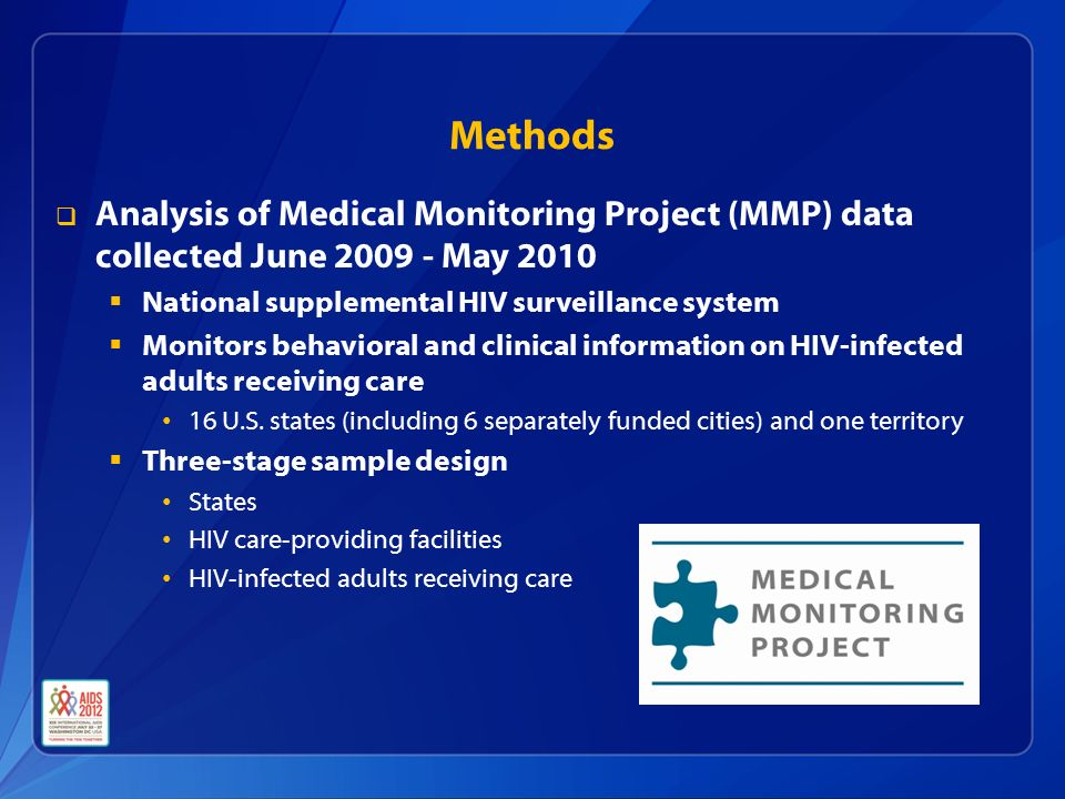 Methods  Analysis of Medical Monitoring Project (MMP) data collected June May 2010  National supplemental HIV surveillance system  Monitors behavioral and clinical information on HIV-infected adults receiving care 16 U.S.