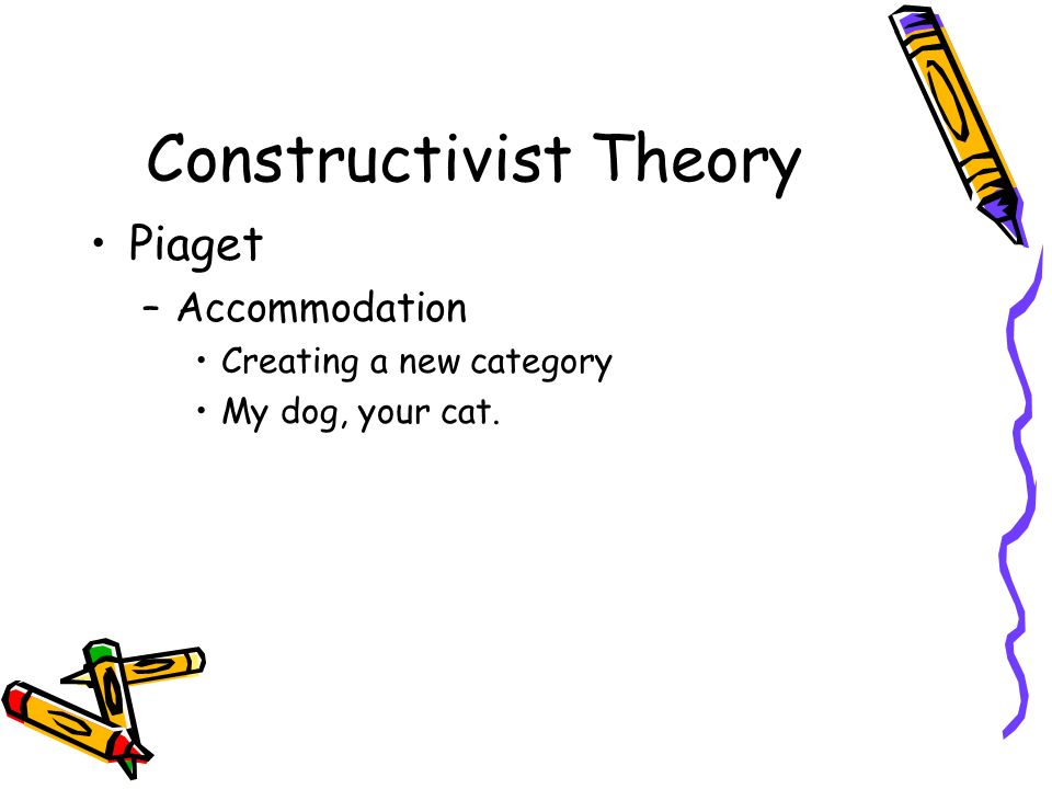 Constructivist Theory Piaget –Accommodation Creating a new category My dog, your cat.