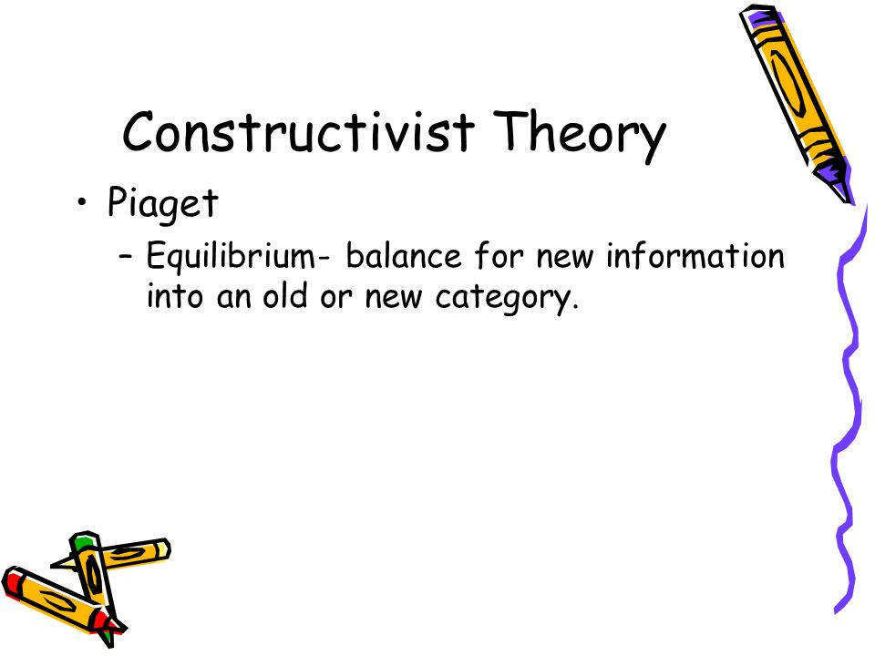 Constructivist Theory Piaget –Equilibrium- balance for new information into an old or new category.