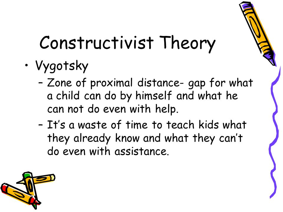 Constructivist Theory Vygotsky –Zone of proximal distance- gap for what a child can do by himself and what he can not do even with help.