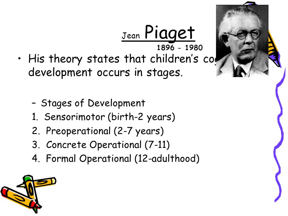 Jean Piaget His theory states that children's cognitive development occurs in stages.