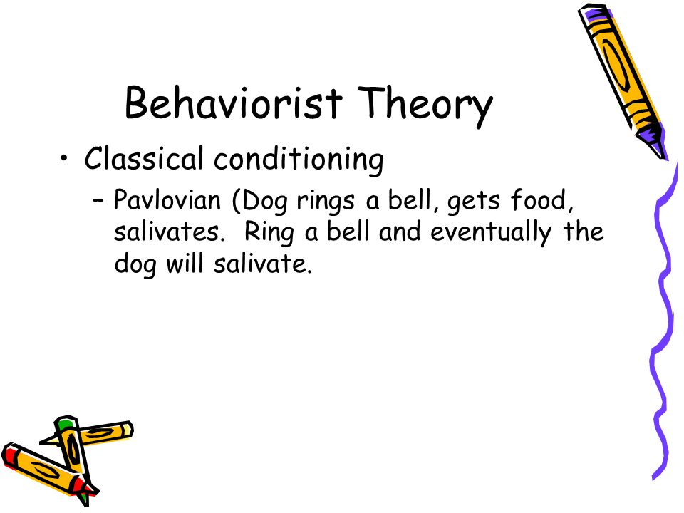 Behaviorist Theory Classical conditioning –Pavlovian (Dog rings a bell, gets food, salivates.