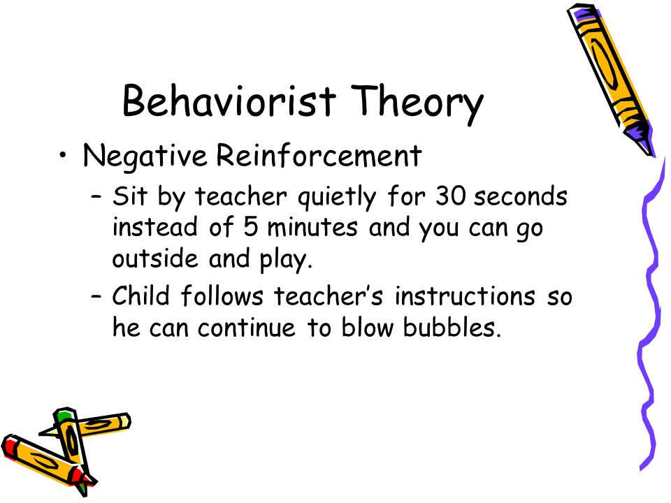 Behaviorist Theory Negative Reinforcement –Sit by teacher quietly for 30 seconds instead of 5 minutes and you can go outside and play.