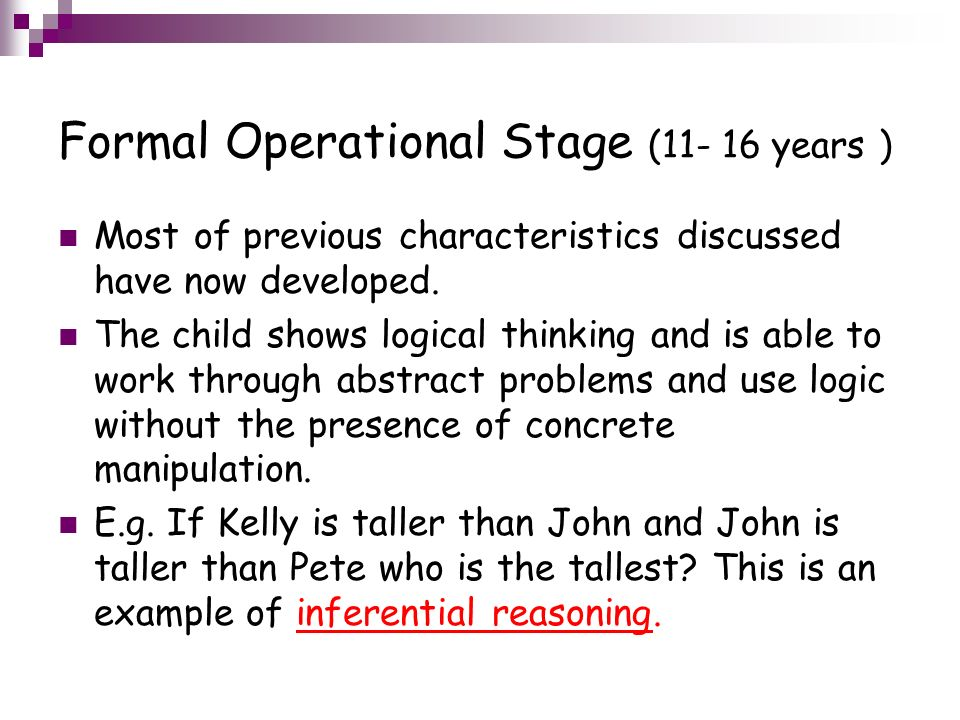 examples of formal operational thinking