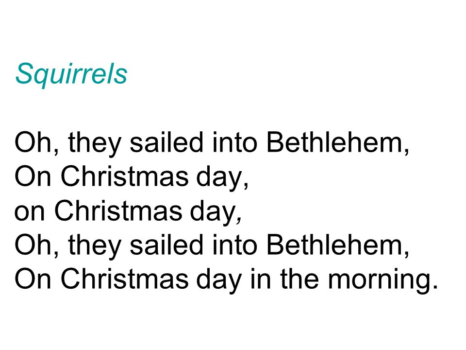 3 squirrels oh they sailed into bethlehem on christmas day on christmas day oh they sailed into bethlehem on christmas day in the morning