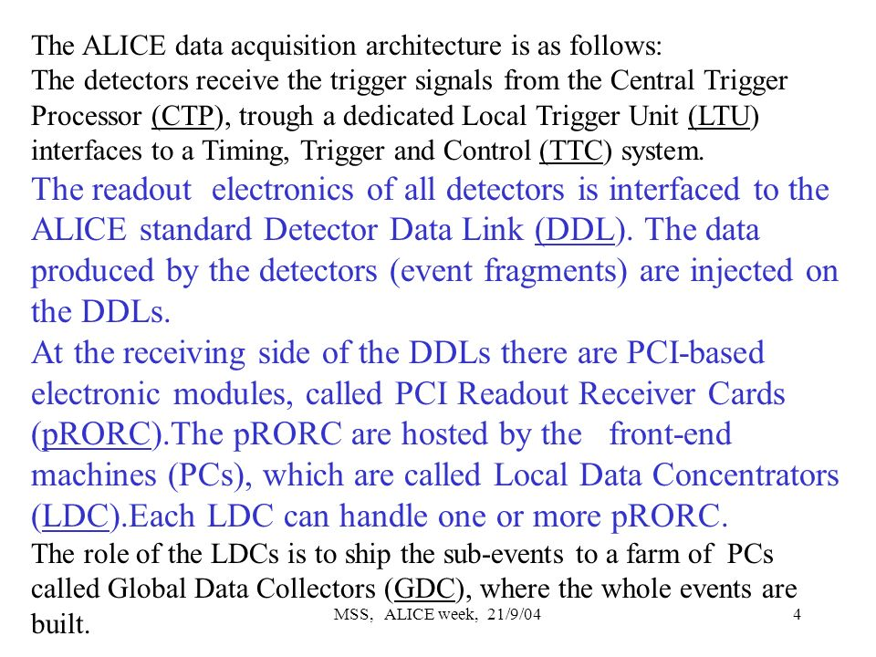 MSS, ALICE week, 21/9/044 The ALICE data acquisition architecture is as follows: The detectors receive the trigger signals from the Central Trigger Processor (CTP), trough a dedicated Local Trigger Unit (LTU) interfaces to a Timing, Trigger and Control (TTC) system.