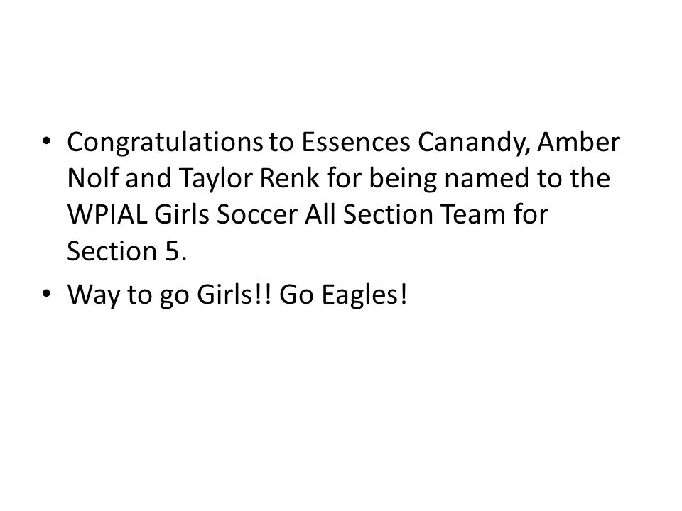 Congratulations to Essences Canandy, Amber Nolf and Taylor Renk for being named to the WPIAL Girls Soccer All Section Team for Section 5.
