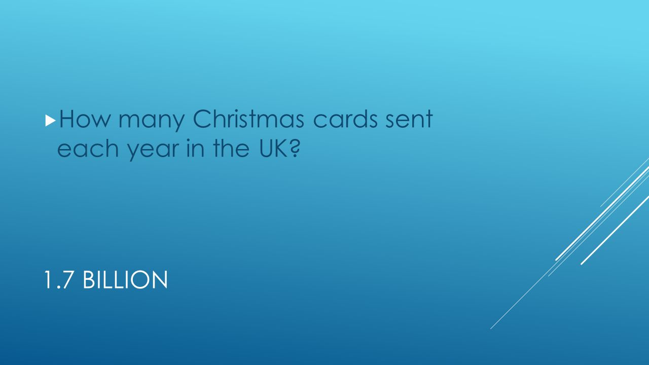 1.7 BILLION  How many Christmas cards sent each year in the UK