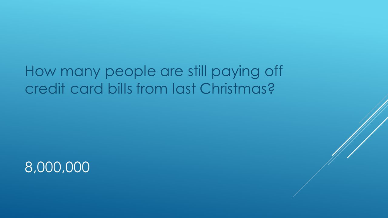 8,000,000 How many people are still paying off credit card bills from last Christmas