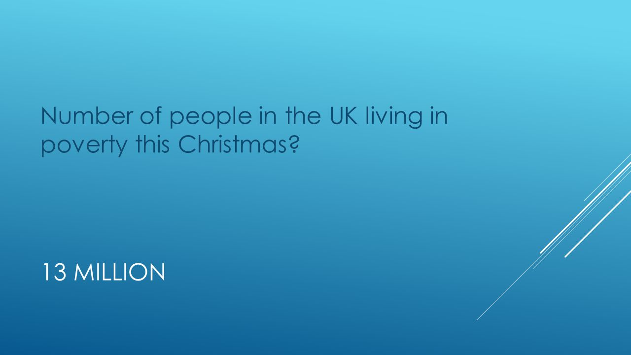 13 MILLION Number of people in the UK living in poverty this Christmas