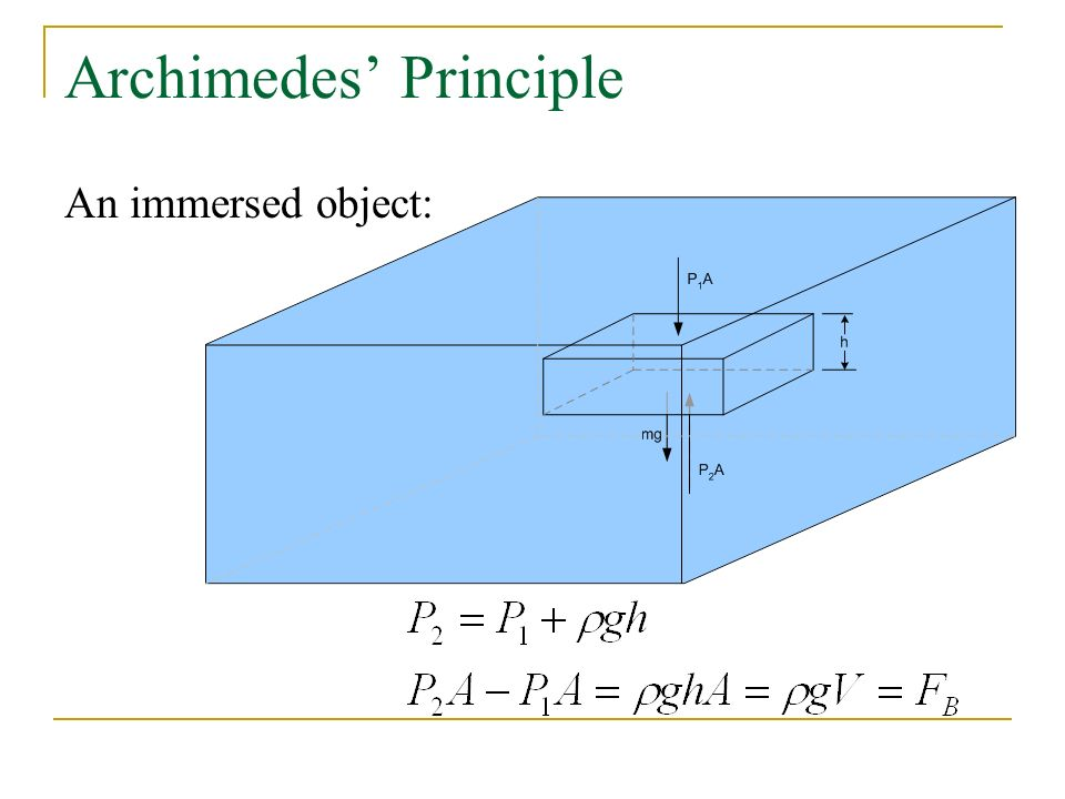 Archimedes' Principle An immersed object:
