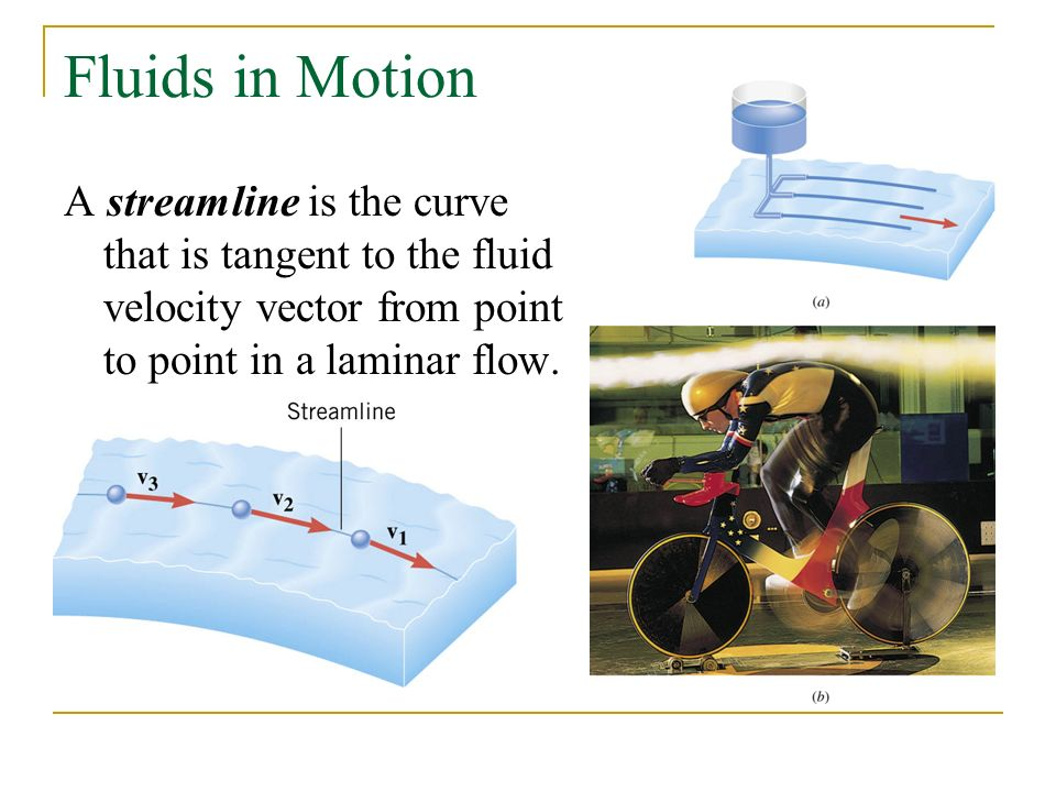 Fluids in Motion A streamline is the curve that is tangent to the fluid velocity vector from point to point in a laminar flow.