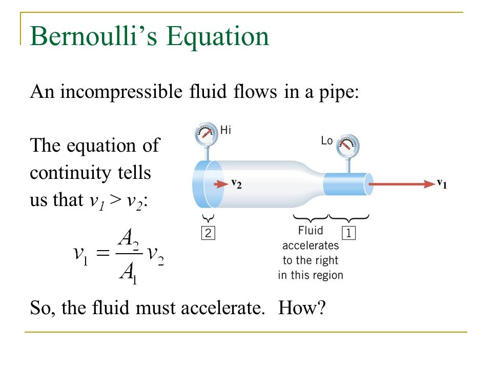 Bernoulli's Equation An incompressible fluid flows in a pipe: The equation of continuity tells us that v 1 > v 2 : So, the fluid must accelerate.