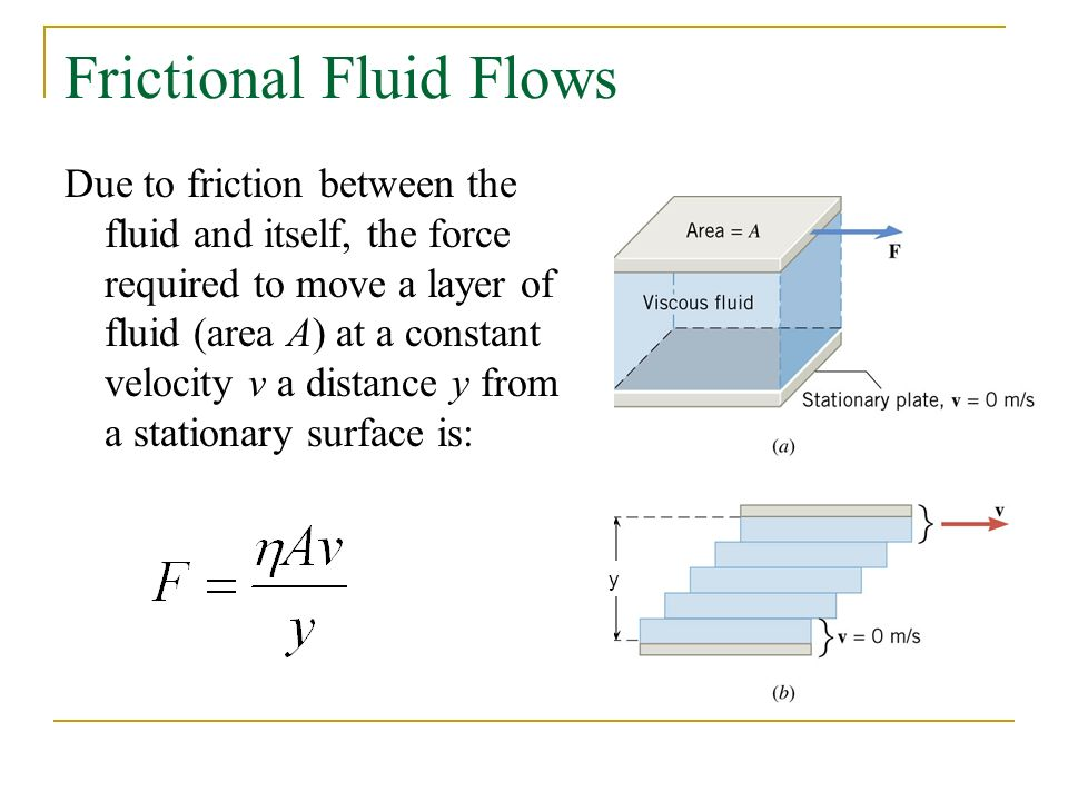Frictional Fluid Flows Due to friction between the fluid and itself, the force required to move a layer of fluid (area A) at a constant velocity v a distance y from a stationary surface is: y