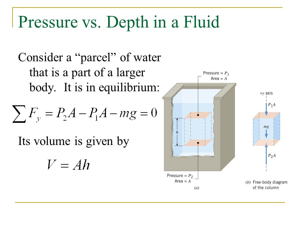 Pressure vs. Depth in a Fluid Consider a parcel of water that is a part of a larger body.
