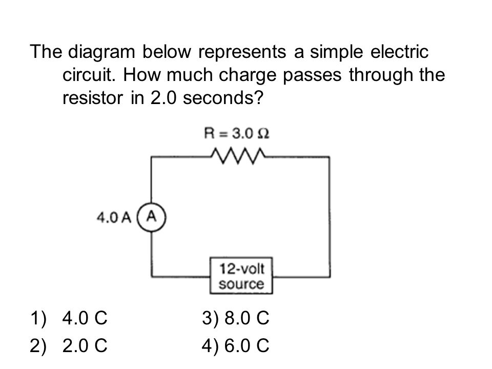 The diagram below represents a simple electric circuit.